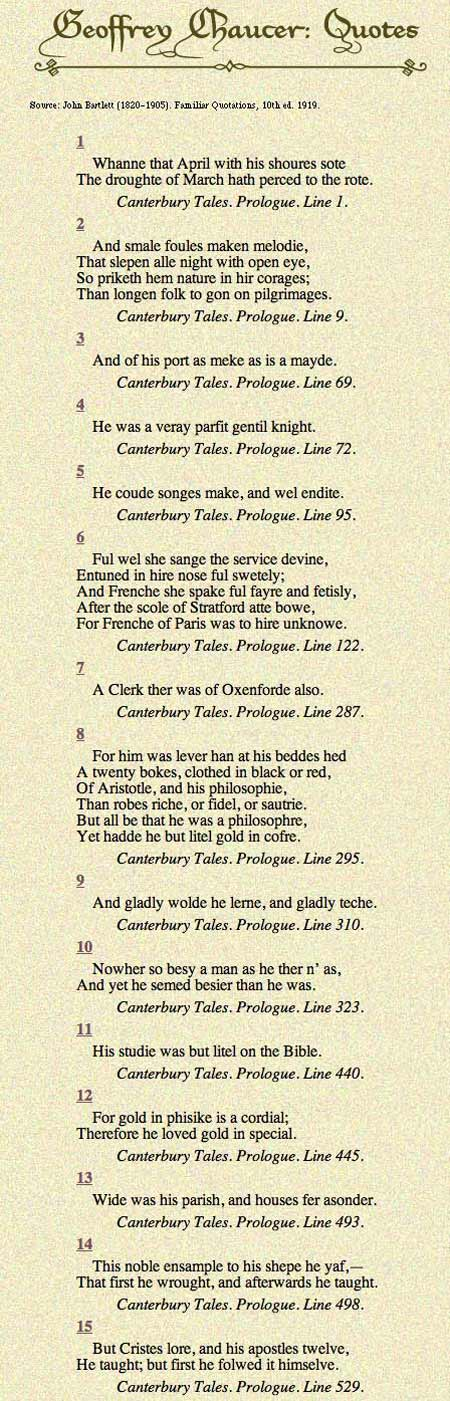 Chaucer Excerpt In Old English