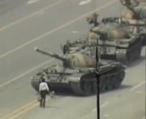 In China, Tank man faces tanks of Tiananmen Square in 1989