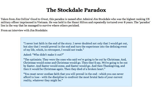 The Stockdale Paradox: quote of Admiral Jim Stockdale, the highest ranking US military officer imprisoned in Vietnam