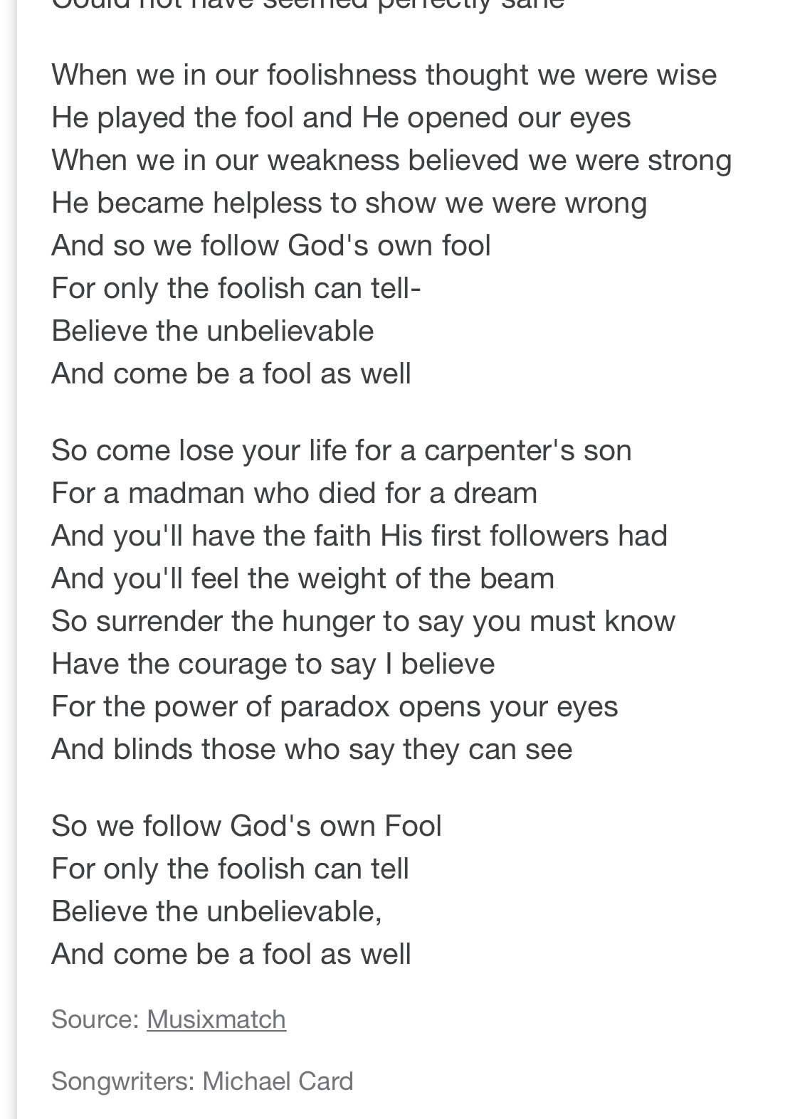 Song lyrics about the Wisdom of God is foolishness to man